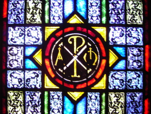 Stained Glass Window of Chi Rho Symbol - St. Ignatius Parish, San Francisco
