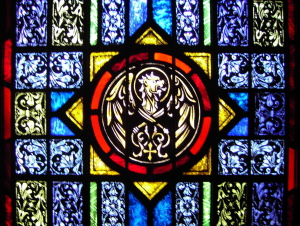Stained Glass Window of Evangelist's Symbol for Matthew - St. Ignatius Parish, San Francisco